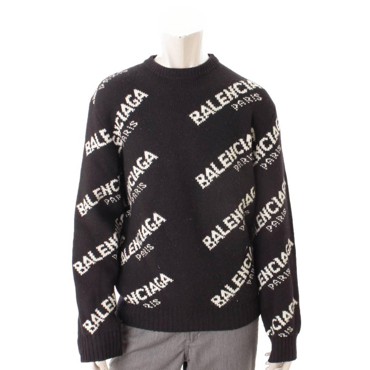 【バレンシアガ】Balenciaga メンズ ジャガードロゴ ニット セーター 507287 ブラック S 【中古】【鑑定済・正規品保証】86851