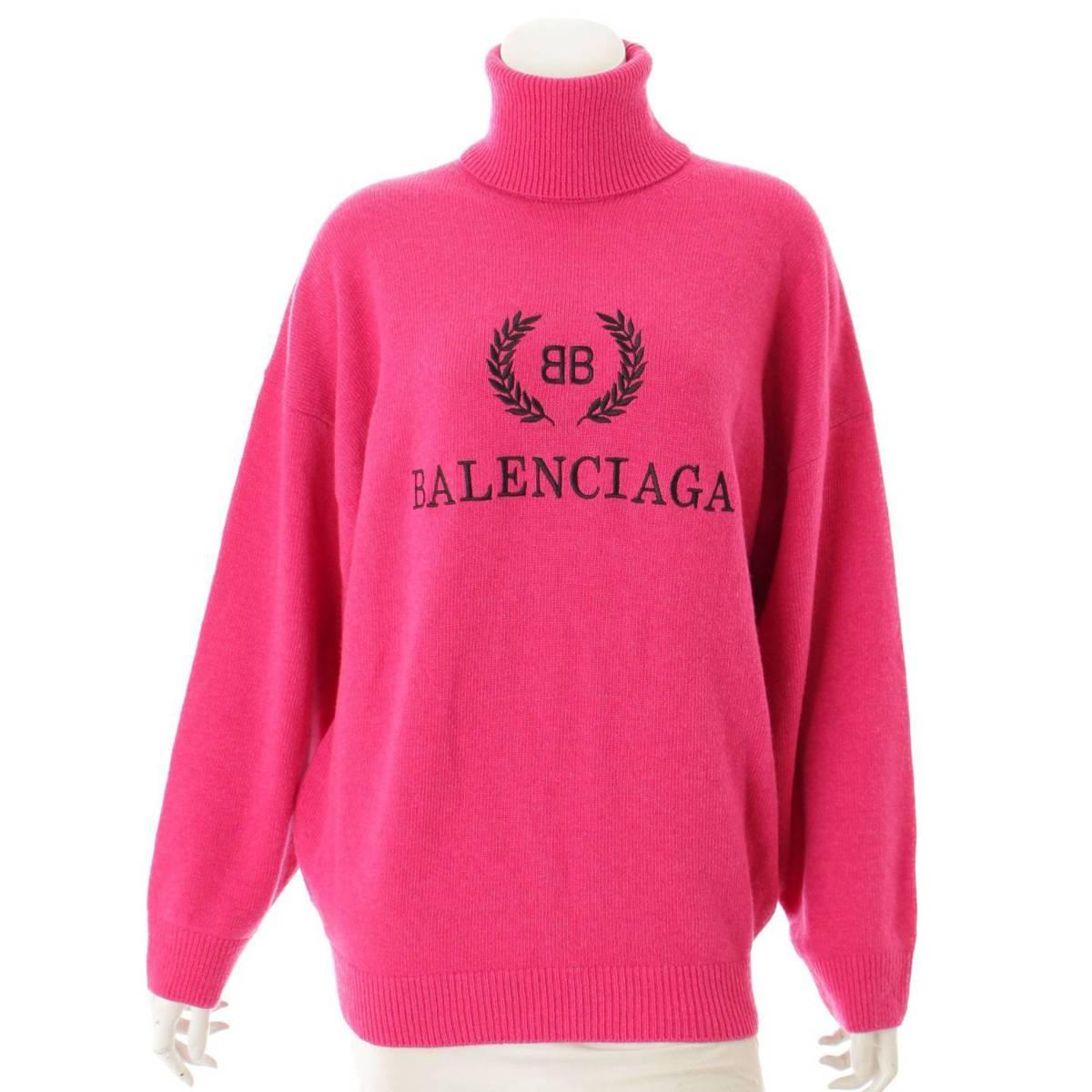 【バレンシアガ】Balenciaga BBロゴ刺繍 エンブロイダリー タートルネックセーター 542618 ピンク XS 【中古】【鑑定済・正規品保証】86850