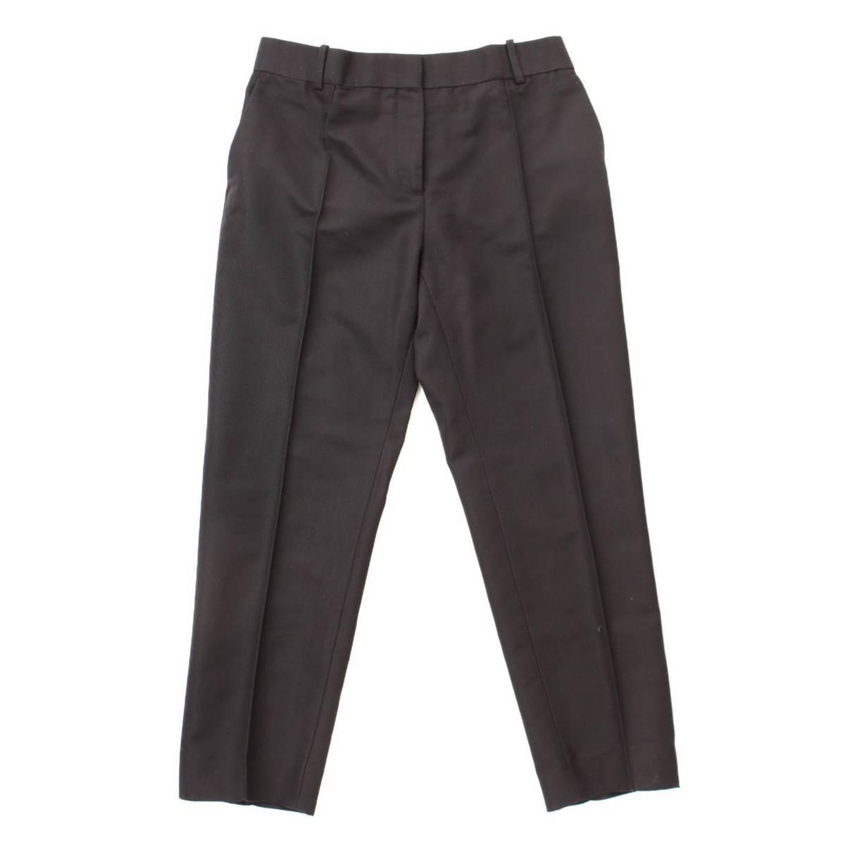 【セリーヌ】Celine シルク混 スラックス パンツ ブラック 38 【中古】【鑑定済・正規品保証】86697