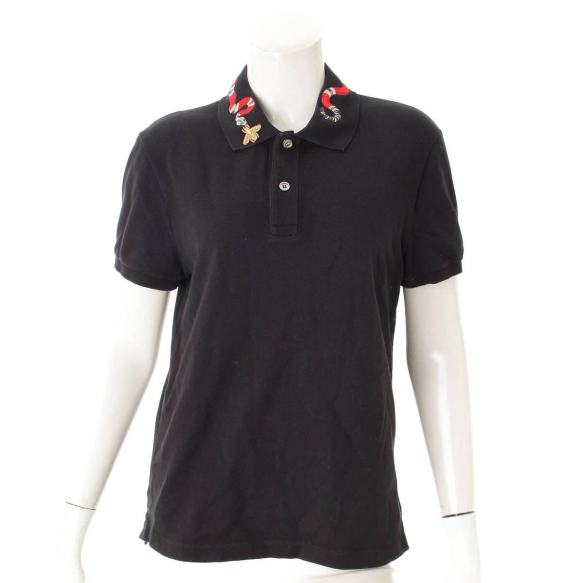 【グッチ】Gucci スネークエンブロイダリー ポロシャツ 408323 ブラック XS 【中古】【鑑定済・正規品保証】86897