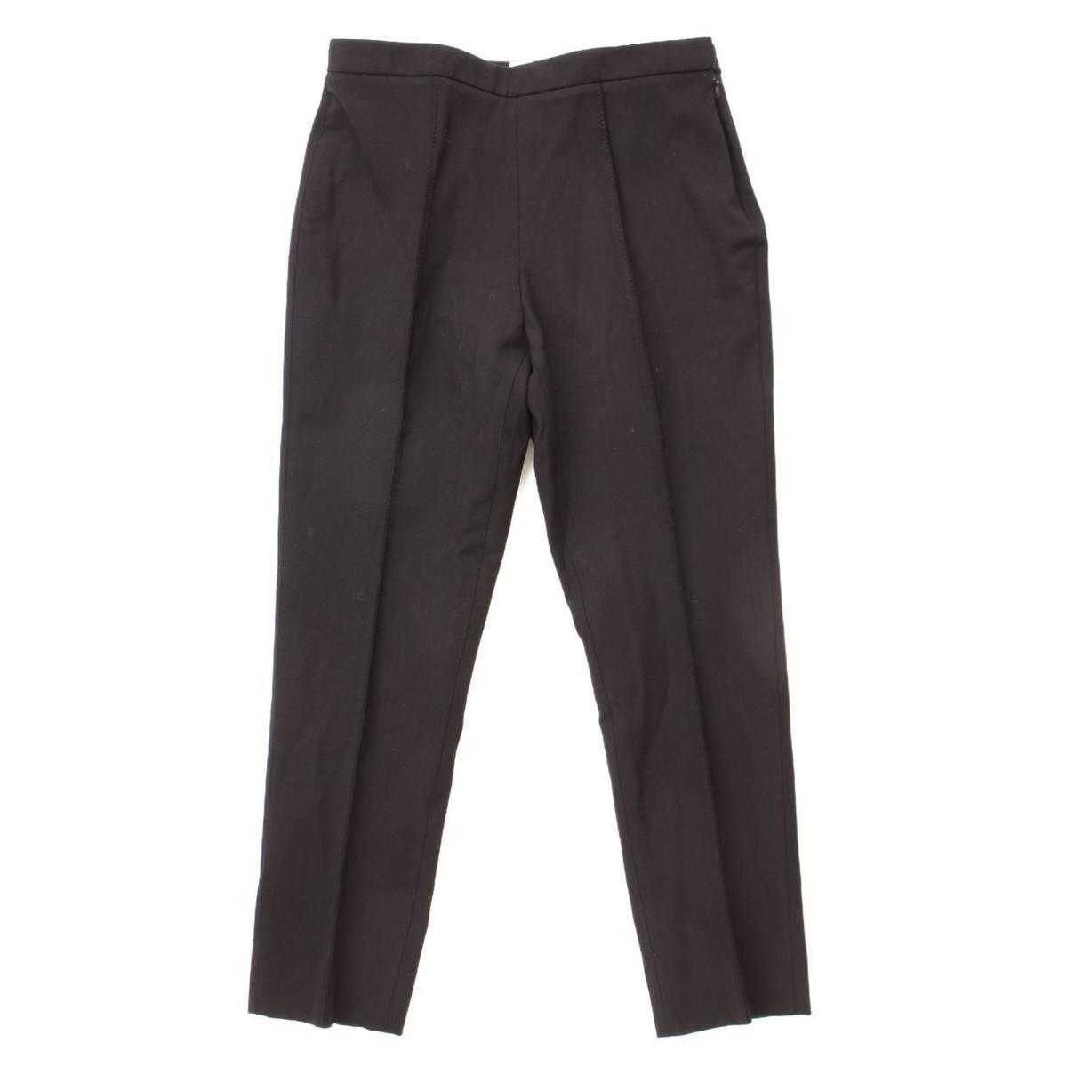 【エルメス】Hermes ピンタック クリースライン スラックス パンツ ブラック 38 【中古】【鑑定済・正規品保証】86696