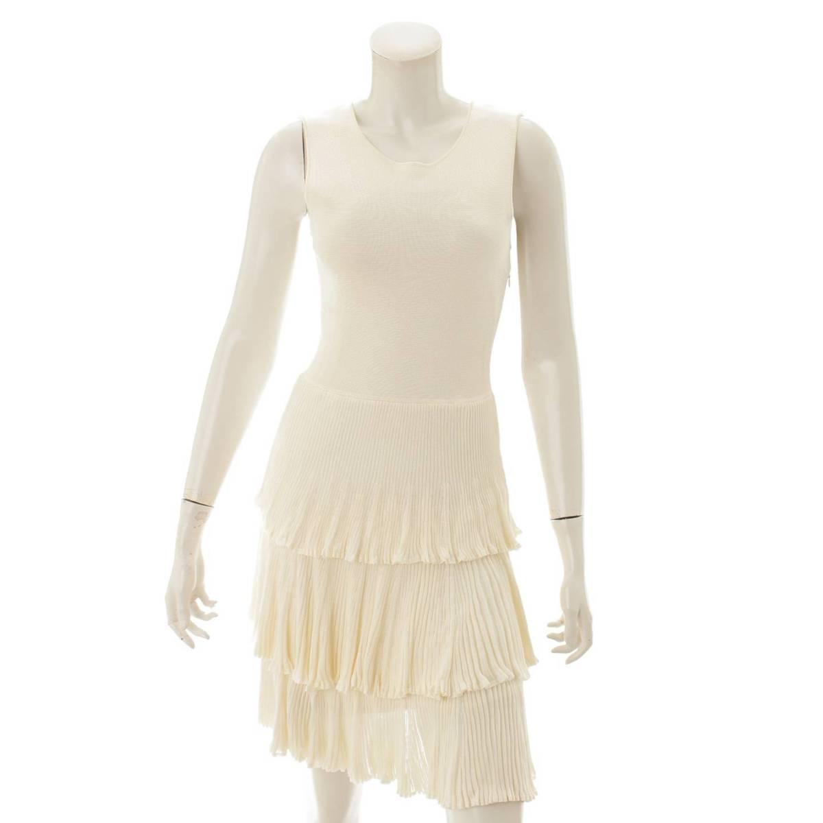 【クリスチャン ディオール】Christian Dior ノースリーブ ワンピース ドレス ホワイト 36 【中古】【鑑定済・正規品保証】86854