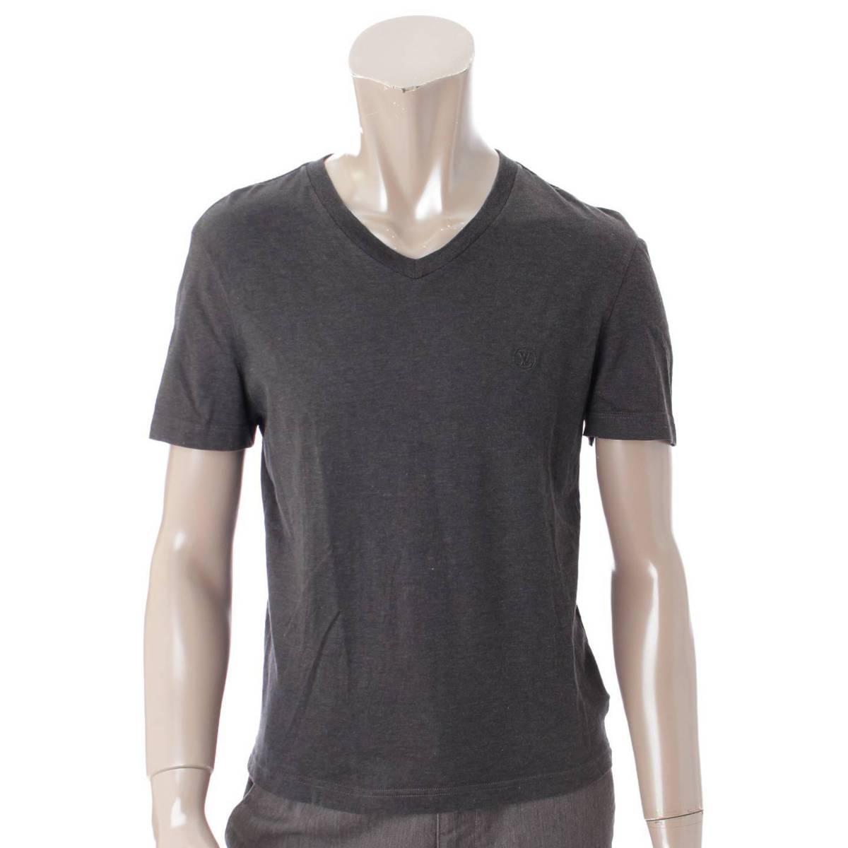 【ルイヴィトン】Louis Vuitton メンズ サークルロゴ刺繍 Vネック Tシャツ グレー XS 【中古】【鑑定済・正規品保証】87961