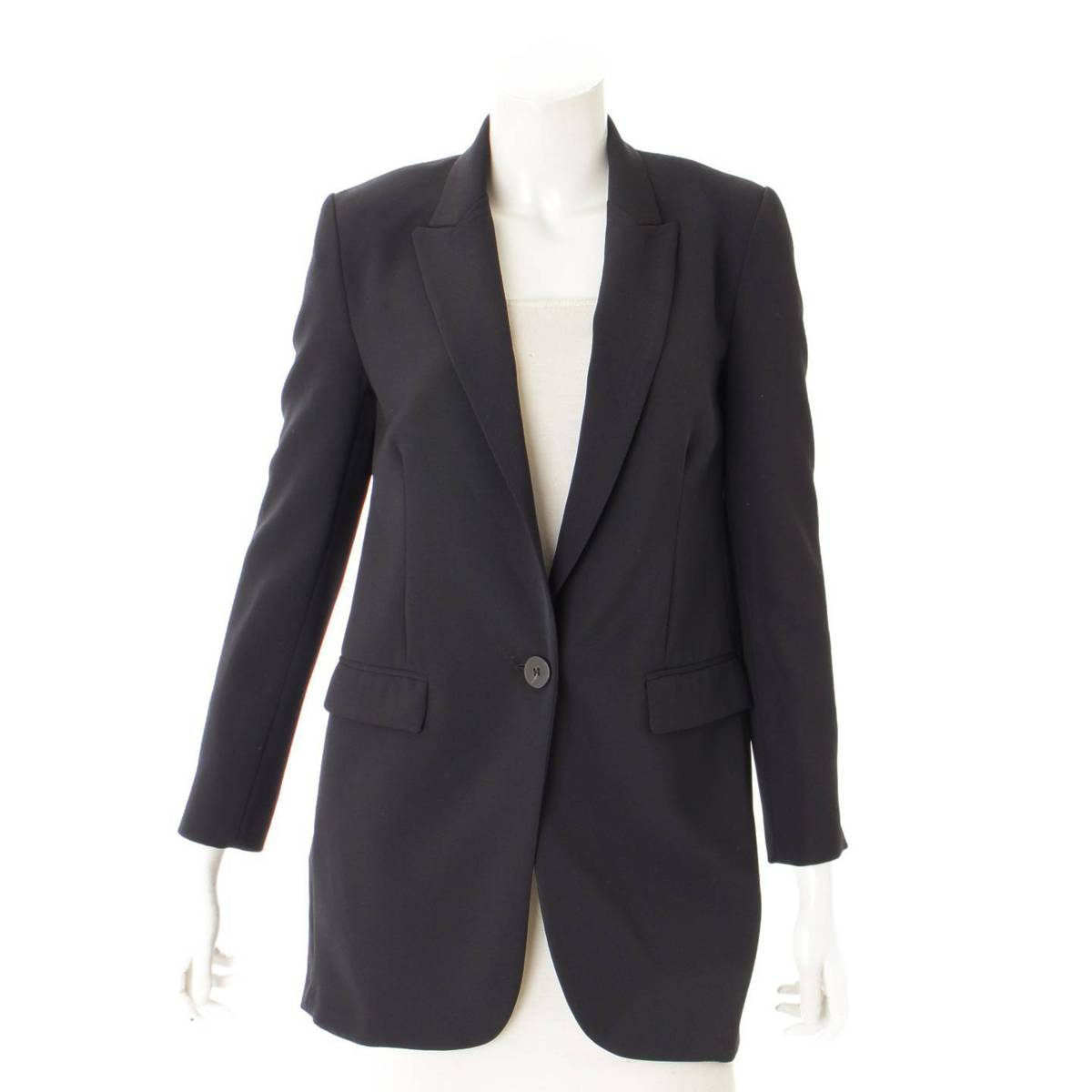 【ピンコ】Pinko ビジュー ブローチ ピークドラペル ジャケット ブラック 36 未使用【中古】【鑑定済・正規品保証】87955