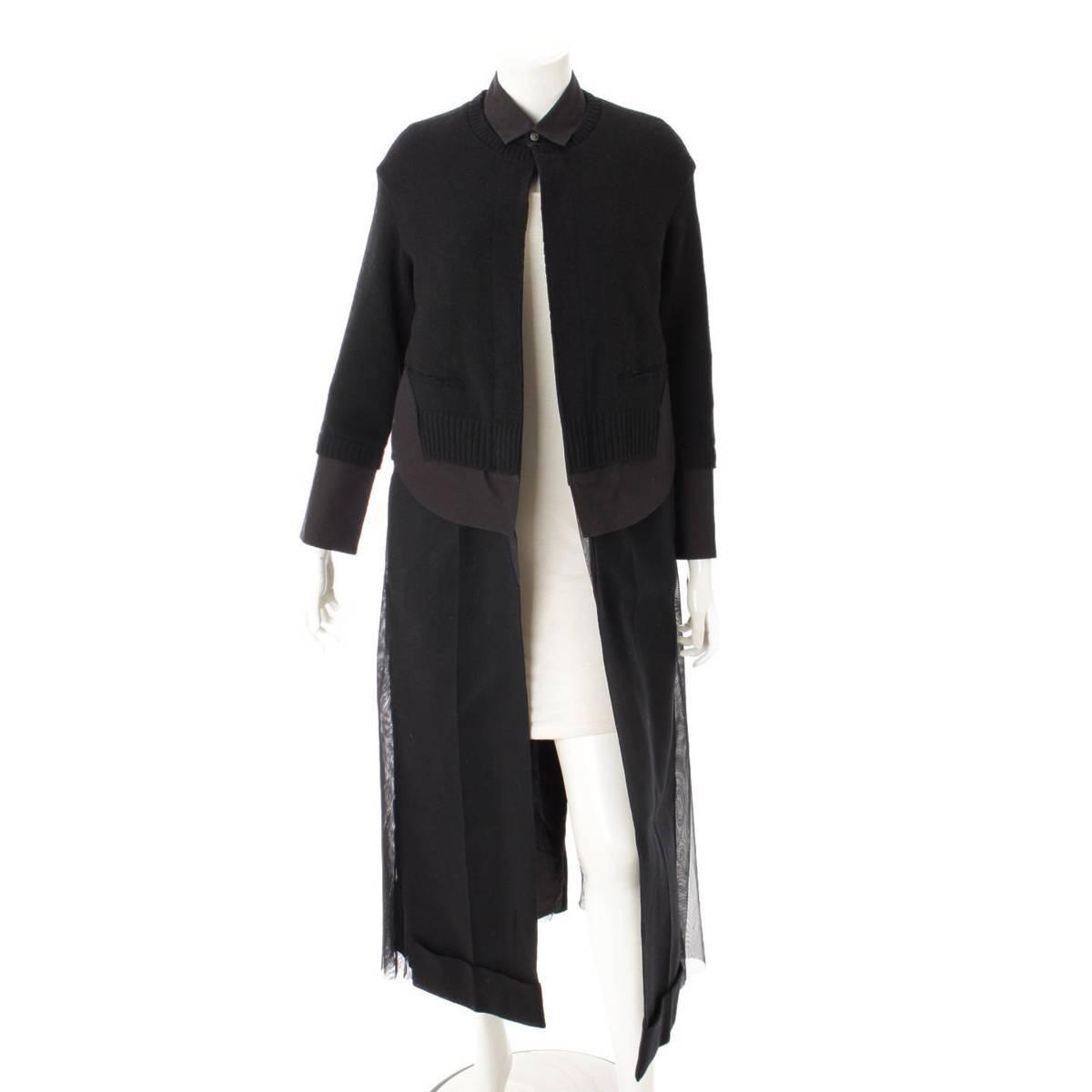 【アンダーカバー】Undercover ニットジョイント ロングコート シャツ ブラック 1 【中古】【鑑定済・正規品保証】87210