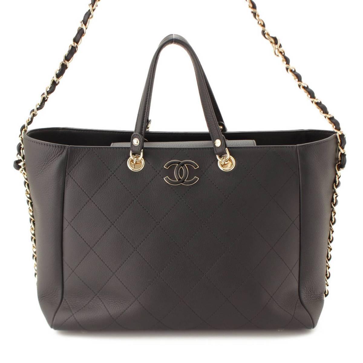 【シャネル】Chanel マトラッセ 2WAY スモールショッピングバッグ AS0355 ブラック 【中古】【鑑定済・正規品保証】91205