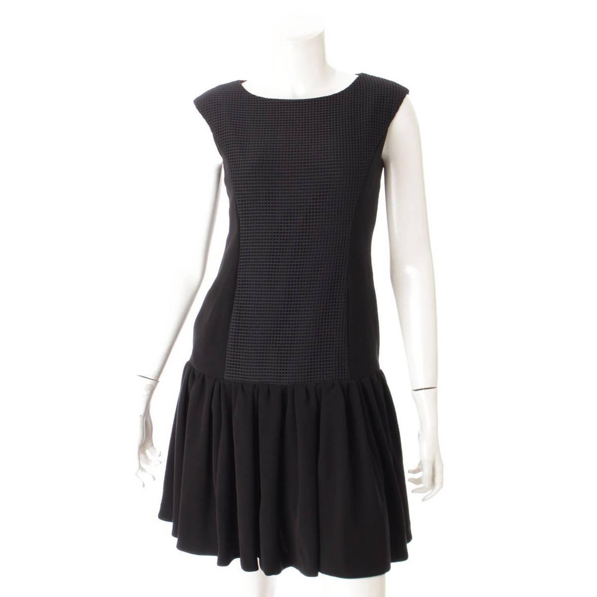 【フォクシーニューヨーク】Foxey New York Front Mesh Dress メッシュ ワンピース 34766 ブラック 38 未使用【中古】【鑑定済・正規品保証】90082