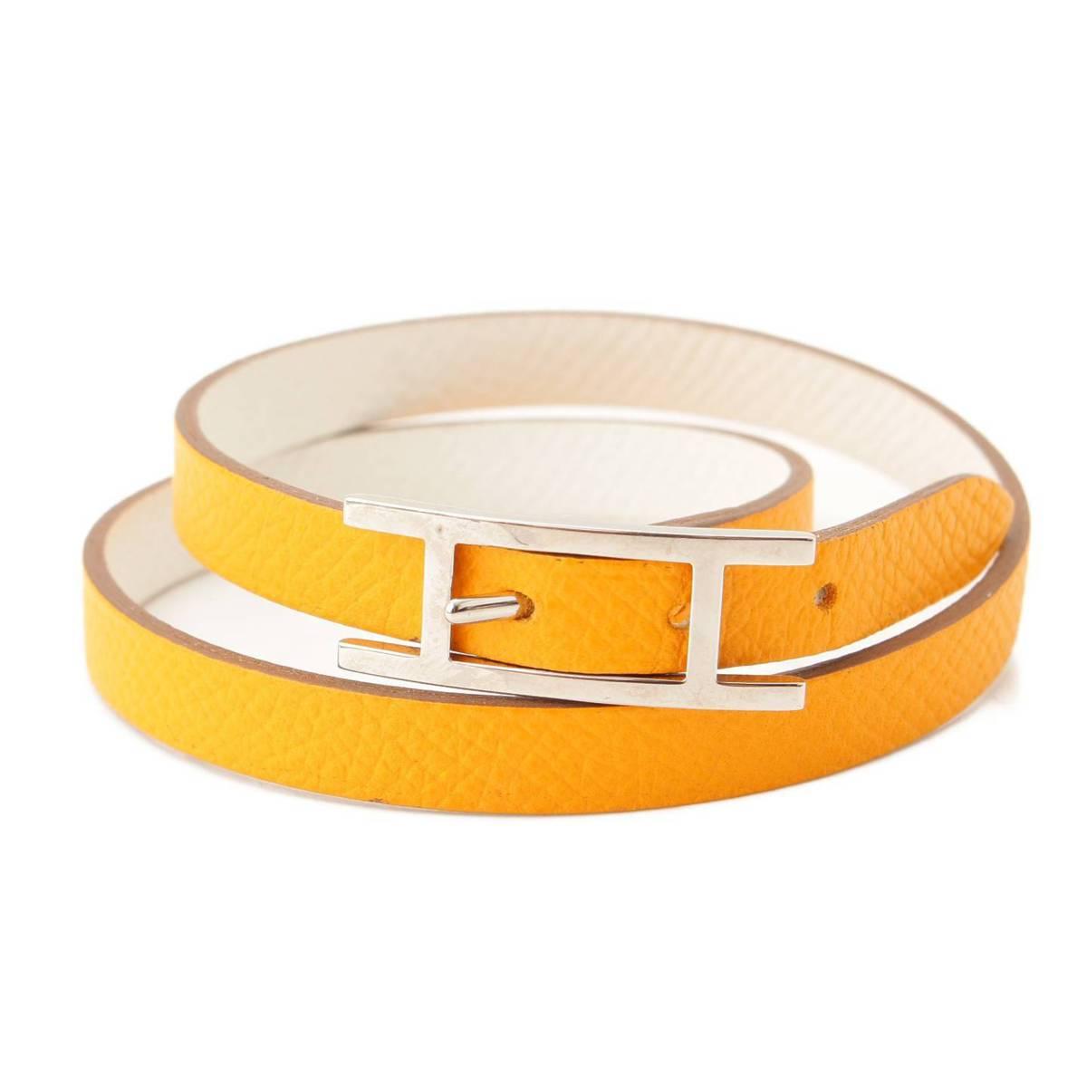 スーパーセール対象商品 エルメス Hermes 在庫あり ビーアピ リバーシブル レザー ブレスレット M 正規品保証 オレンジ×ホワイト 中古 93367 ふるさと割 鑑定済