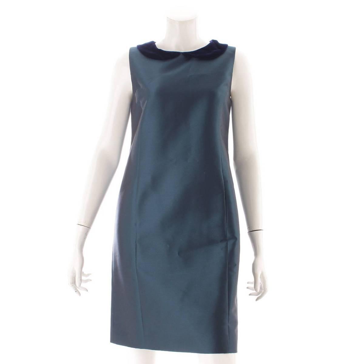【フォクシー】Foxey デイジーリン シルク混 ベロア襟 ワンピース ドレス 32776 グリーン 40 【中古】【鑑定済・正規品保証】94354