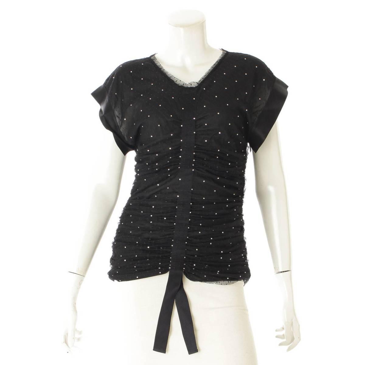 【シャネル】Chanel 20SS La Pausa チュール ギャザー ワンピース Tシャツ P64269 ブラック 38 【中古】【鑑定済・正規品保証】97984