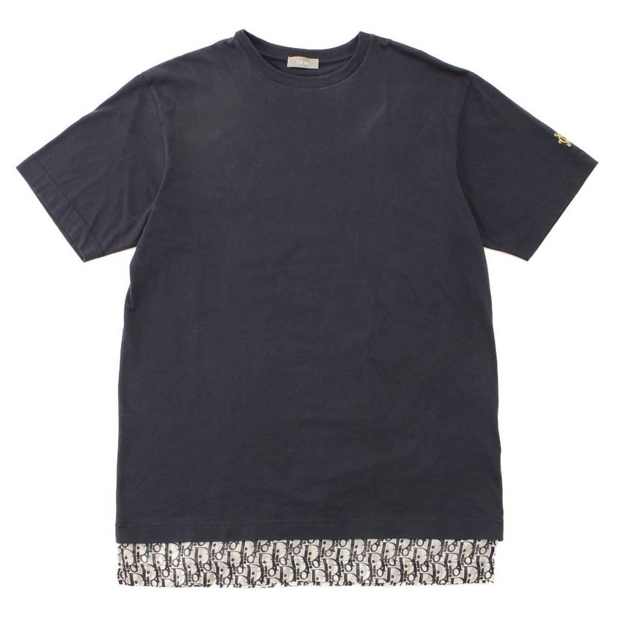 【ディオールオム】Dior Homme ディオール 19ss オブリーク柄 モノグラム ロゴ シルク レイヤード Tシャツ 【中古】【鑑定済・正規品保証】96794