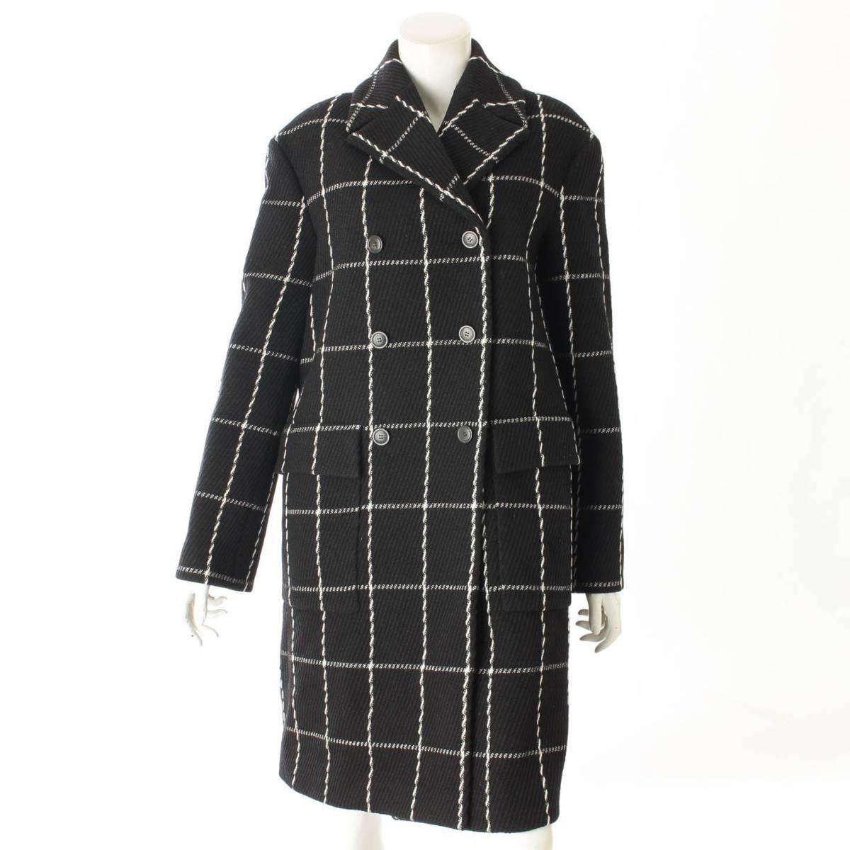 【クリスチャン ディオール】Christian Dior チェック ロングコート ブラック ホワイト 40 【中古】【鑑定済・正規品保証】96462