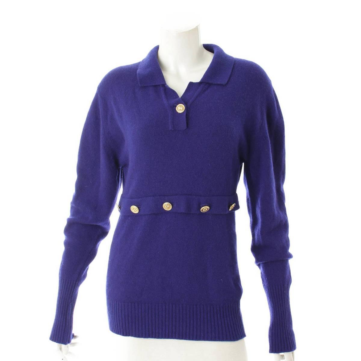 シャネル Chanel カシミヤ クローバーボタン セーター カーディガン 中古 ブルー 1 新品未使用正規品 鑑定済 102317 売れ筋 正規品保証