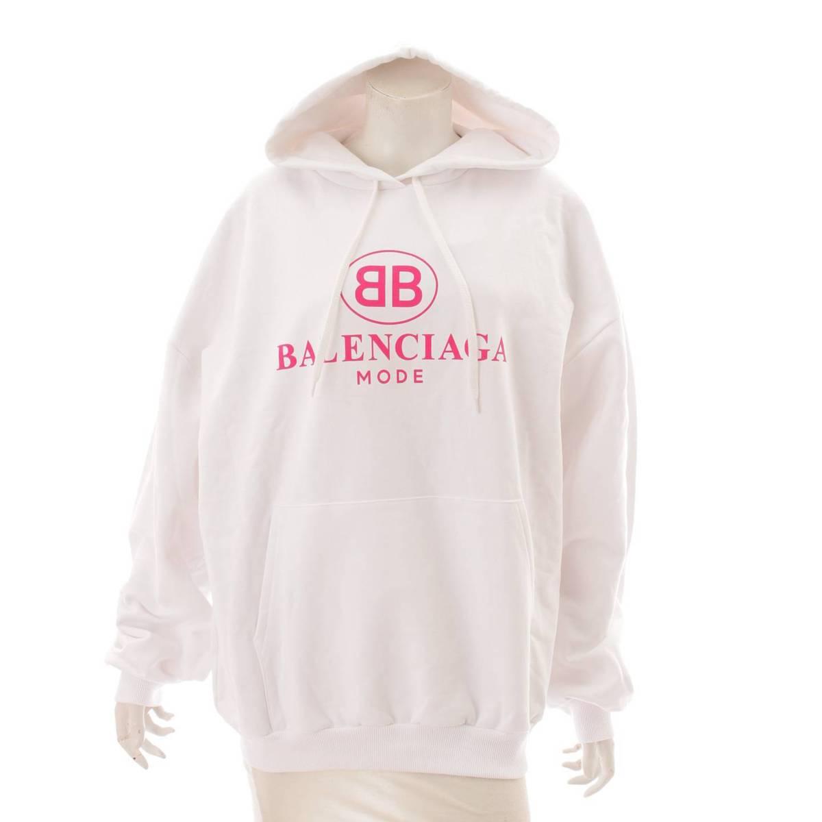 バレンシアガ 商店 Balenciaga ロゴパーカー フーディ 501656 TYKA5 予約 9601 鑑定済 113083 XS 正規品保証 中古 ホワイト