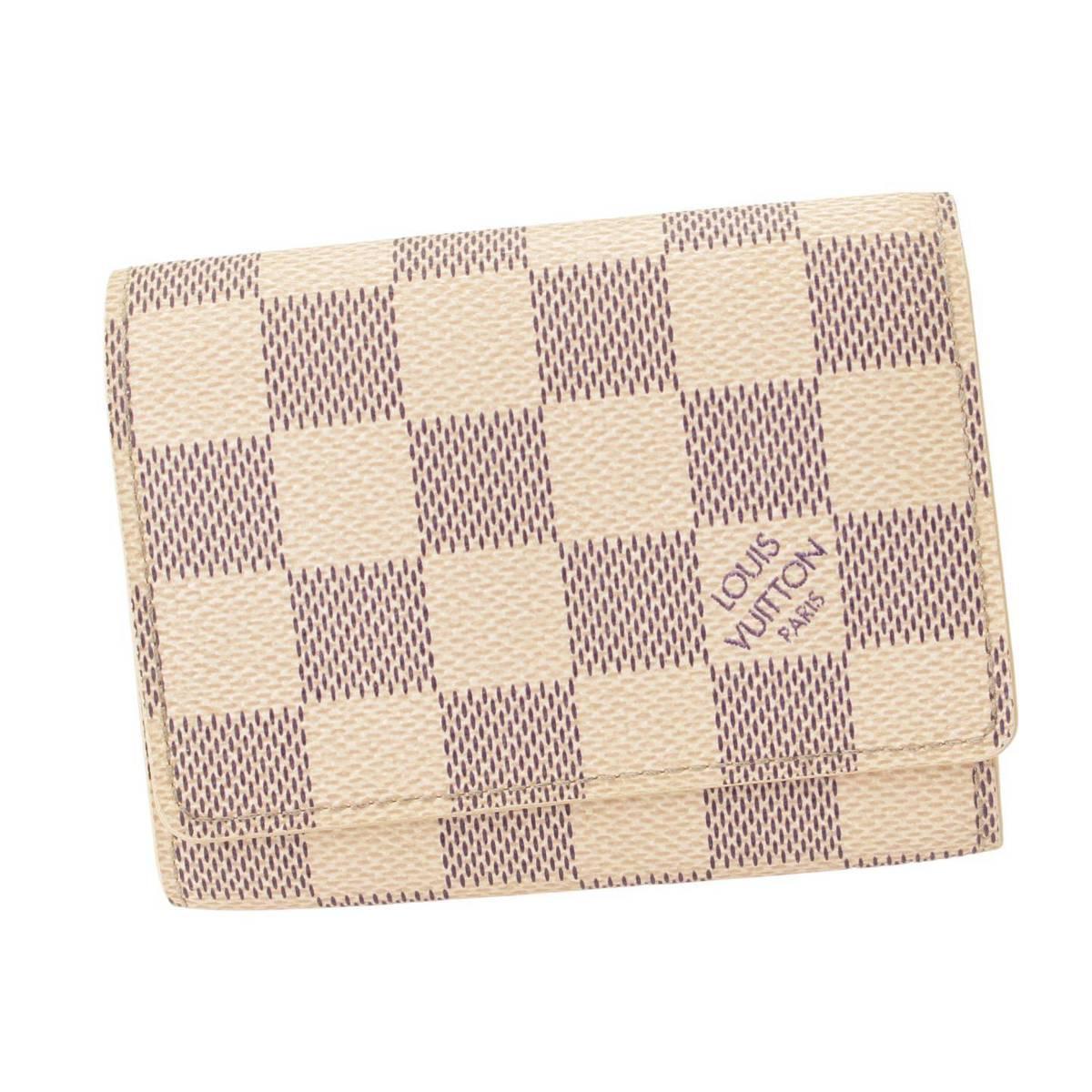 ルイヴィトン Louis Vuitton ダミエアズール アンヴェロップカルトドゥヴィジット カードケース 名刺入れ 売店 上等 120124 N61746 正規品保証 中古 鑑定済 グレー アイボリー