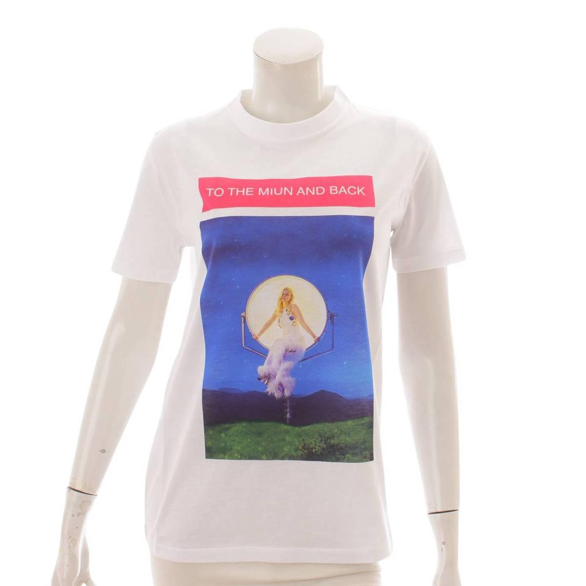 ミュウミュウ Miu 2017年 エル ファニング Tシャツ 毎日激安特売で 営業中です トップス MJN148 未使用 お洒落 ホワイト 鑑定済 123143 M 正規品保証 中古
