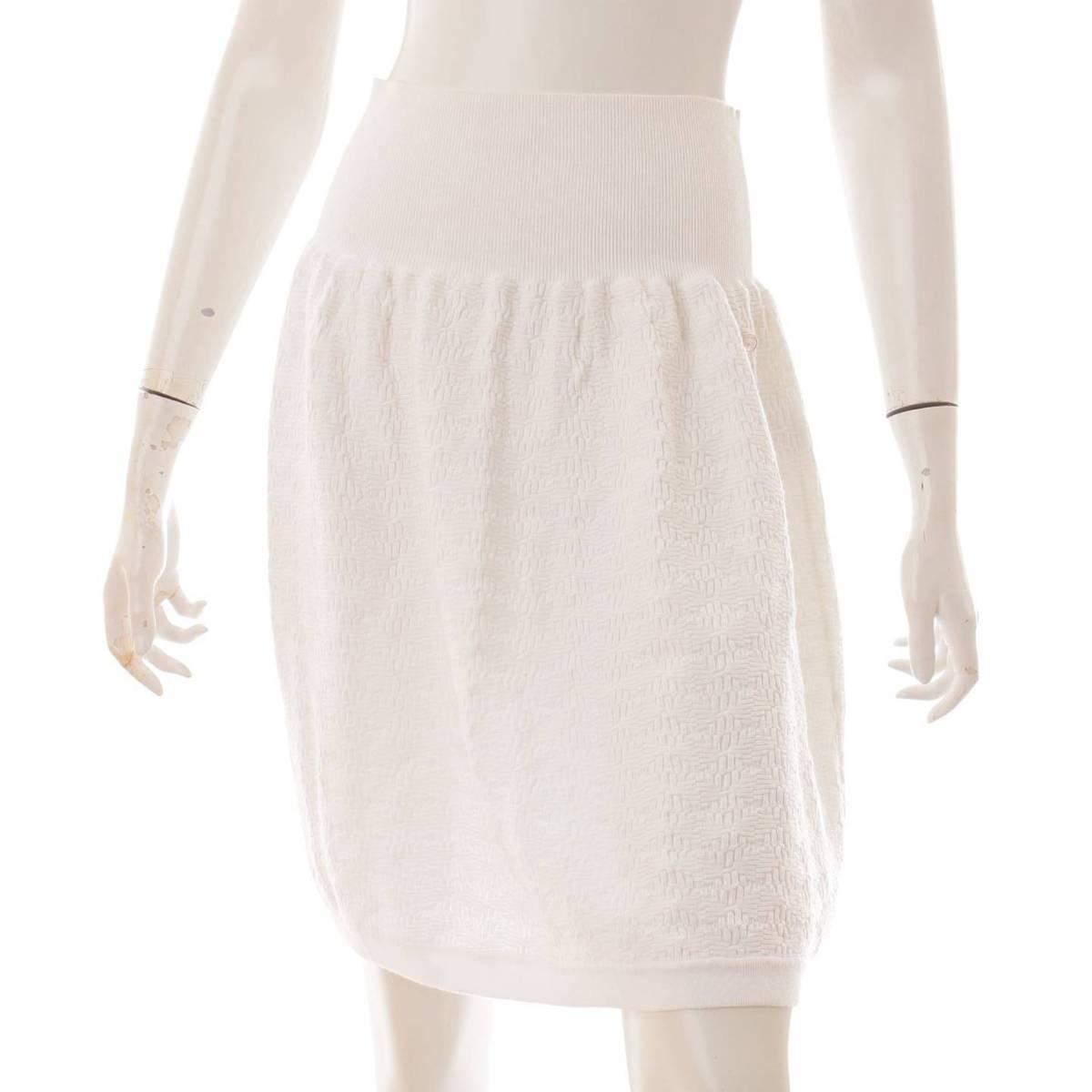 シャネル Chanel ココマーク コットン ハイウエスト スカート P47912 正規品保証 鑑定済 中古 127051 40 激安 激安特価 送料無料 ホワイト 新色追加