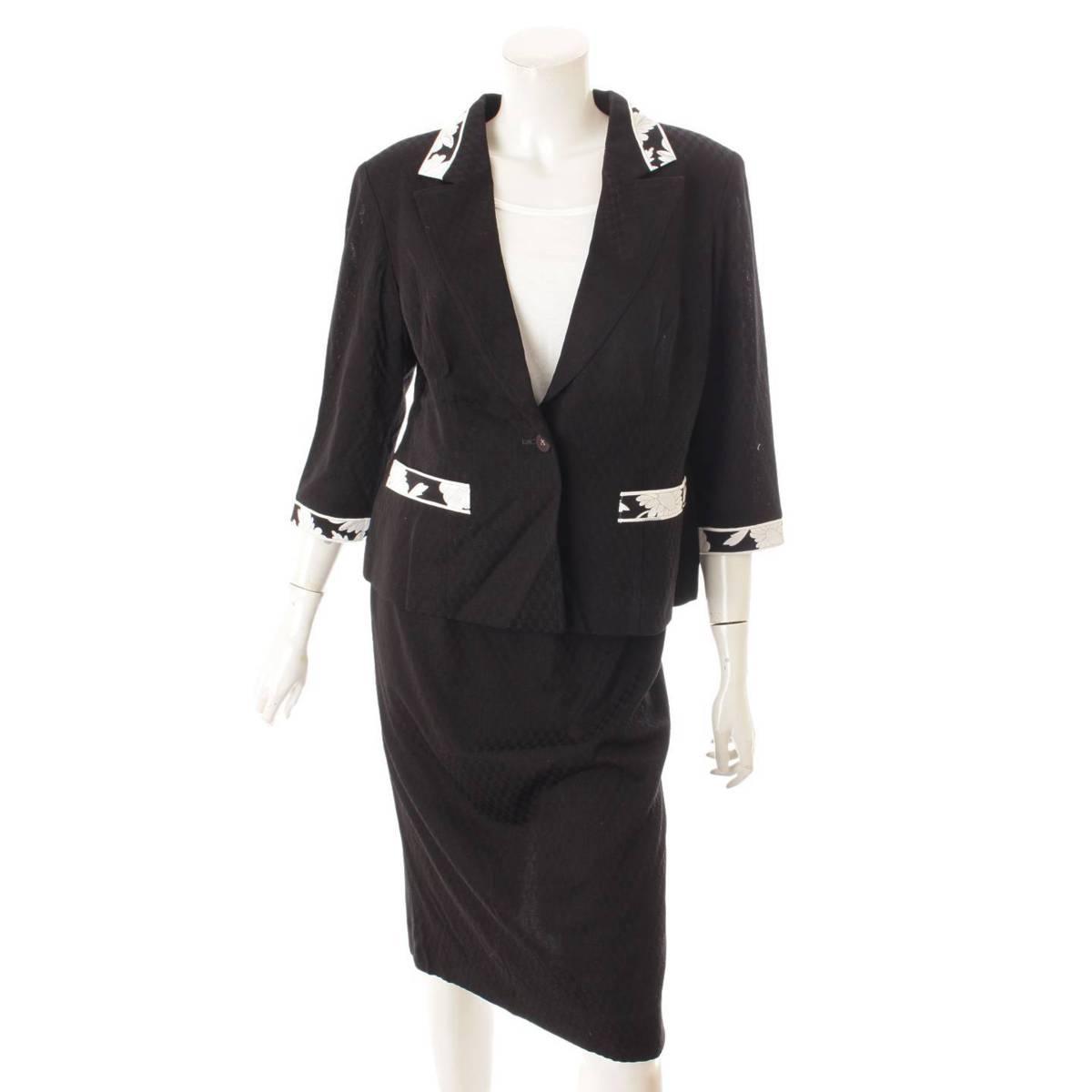 レオナール LEONARD フラワープリント ジャケット 送料無料 新品 スカート セットアップ ブラック ついに入荷 鑑定済 正規品保証 花柄 129771 中古