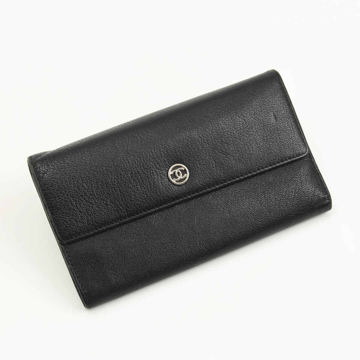【シャネル】Chanel ココボタン 三つ折り 長財布 ブラック 【中古】【鑑定済・正規品保証】16513