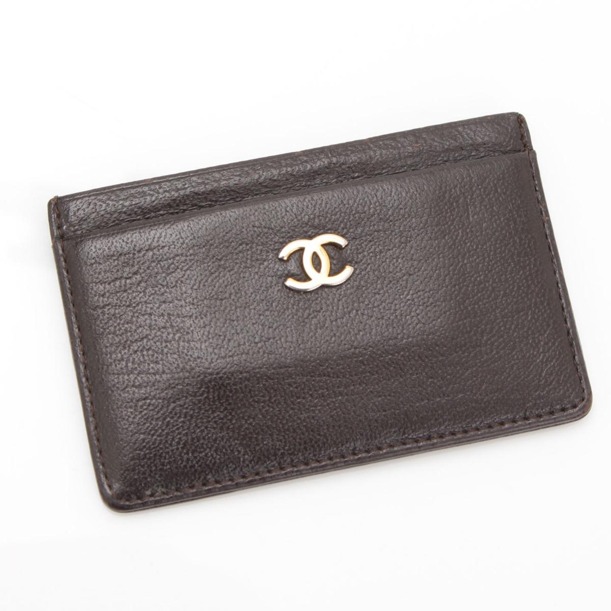【シャネル】Chanel レザー ココマーク カードケース ブラウン 【中古】【鑑定済・正規品保証】19709