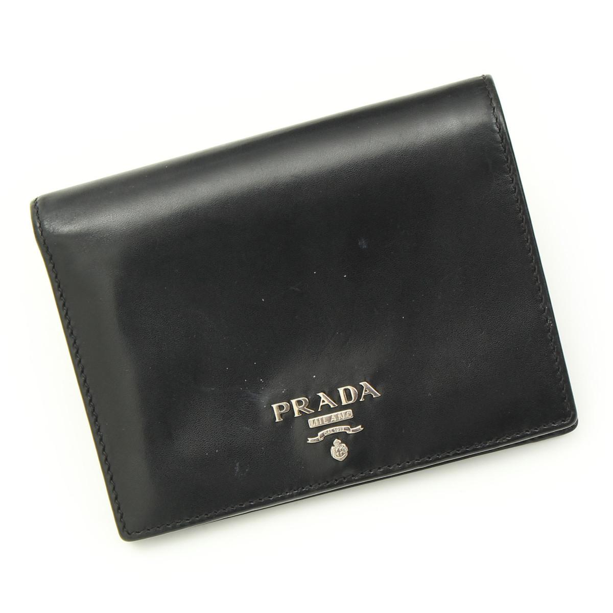 【プラダ】Prada  2つ折り 財布 1M0668 ブラック 【中古】【鑑定済・正規品保証】22763