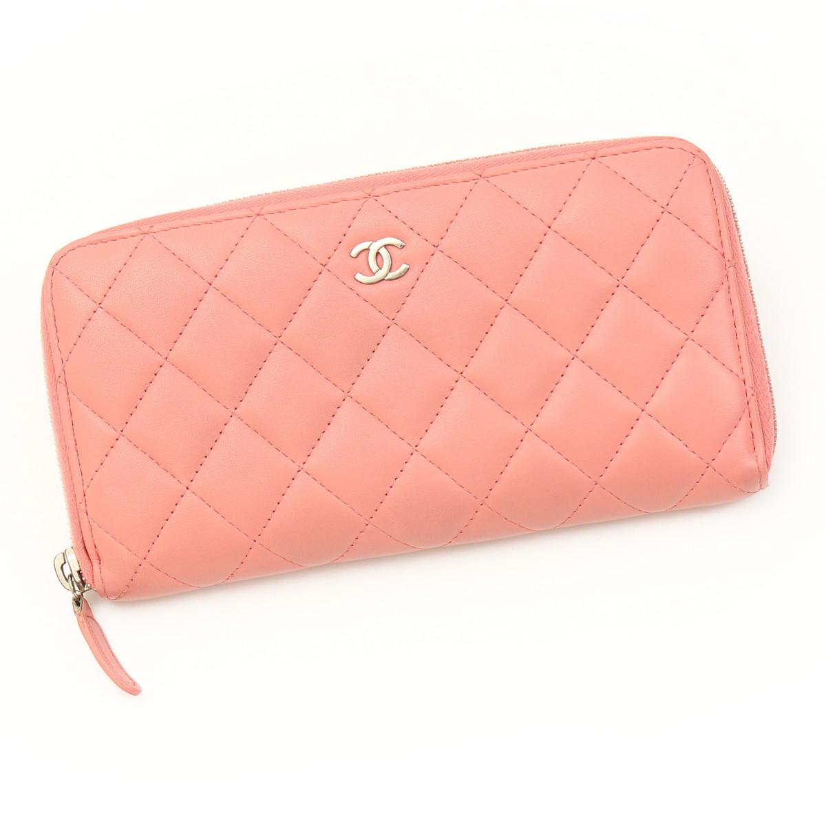 【シャネル】Chanel ラムスキン マトラッセ ラウンドファスナー 長財布 A50097 16番台 ピンク 【中古】【鑑定済・正規品保証】【送料無料】24975