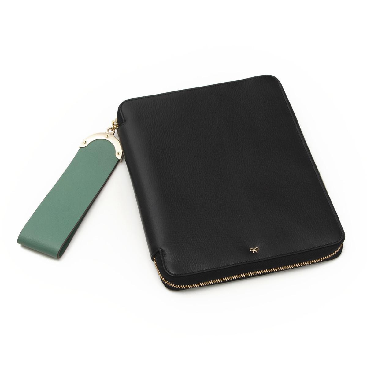 【スーパーSALE 9/4開催】【アニヤハインドマーチ】Anya Hindmarch Seymour ゴートレザー iPadケース ブラック 未使用【中古】【鑑定済・正規品保証】25526