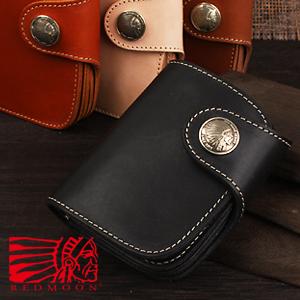 REDMOON レッドムーン 二つ折り財布 ブラック HR-01A[メンズ 男物 本革 サドルレザー 日本製 職人 匠 財布 革財布 ウォレット ショートウォレット おしゃれ かっこいい 大人 彼氏 男性 プレゼント 名入れ]