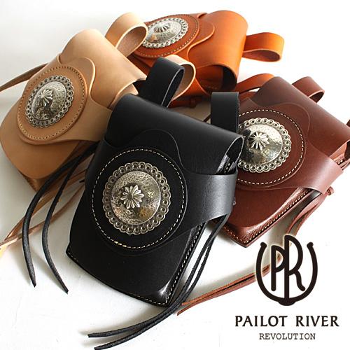 キャルバッグ [メンズ バッグ 鞄 レザー おしゃれ かっこいい 父の日 大人 彼氏 男性 プレゼント] PAILOT RIVER パイロットリバー 洋白 ブロンココンチョ/ PR-CAL-BG