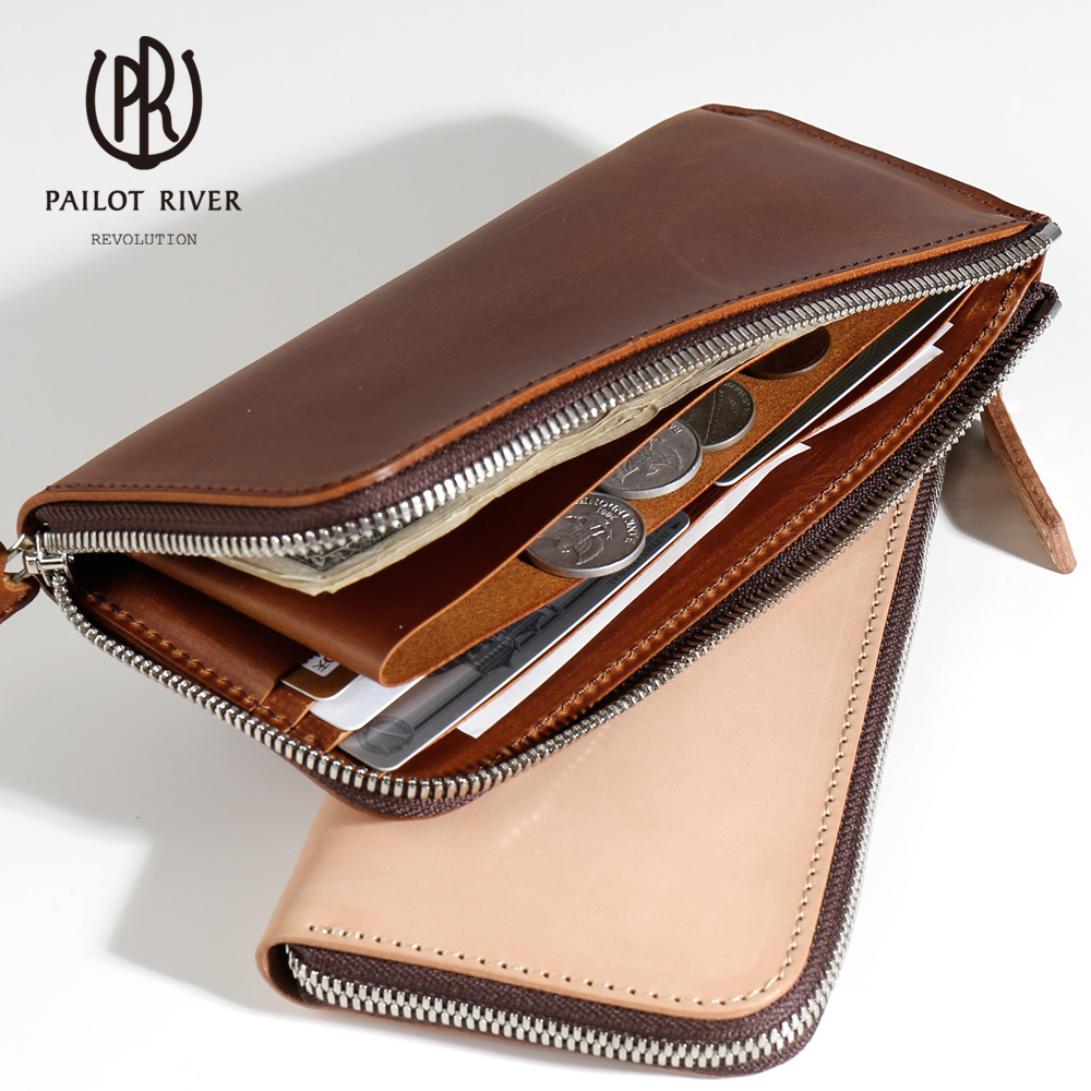 Zip long wallet leather leather PR-SLW [the business that does not have the  adult man present that men men's things genuine leather saddle leather