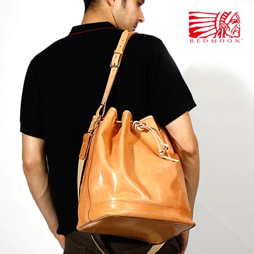 REDMOON レッドムーン 巾着型ショルダーバッグ RM-MARINE[メンズ 男物 本革 サドルレザー 日本製 職人 匠 鞄 カバン 革鞄 革カバン バッグ メンズバッグ おしゃれ かっこいい 大人 彼氏 男性]