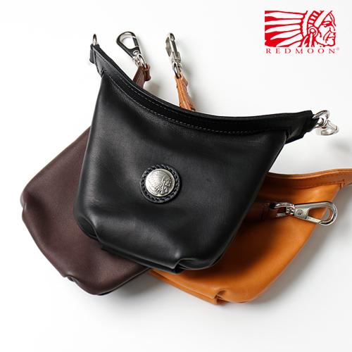 REDMOON レッドムーン ロングシップミニバッグ LONGSHIP mini bag Zコンチョ LS-MBZ Black(Glove Leather) [メンズ 男物 本革 グローブレザー 日本製 職人 匠 革カバン コンパクト ユニセックス メンズバッグ Zコンチョ おしゃれ かっこいい 大人 彼氏 男性 シンプル]