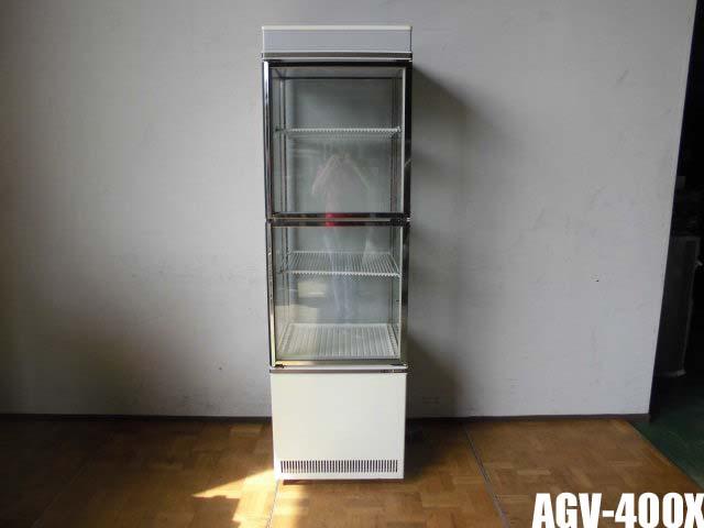 【中古】厨房 業務用 サンデン 冷蔵ショーケース AGV-400X 4面ガラス キャスター付き 100V 220L W554×D542×H1843mm