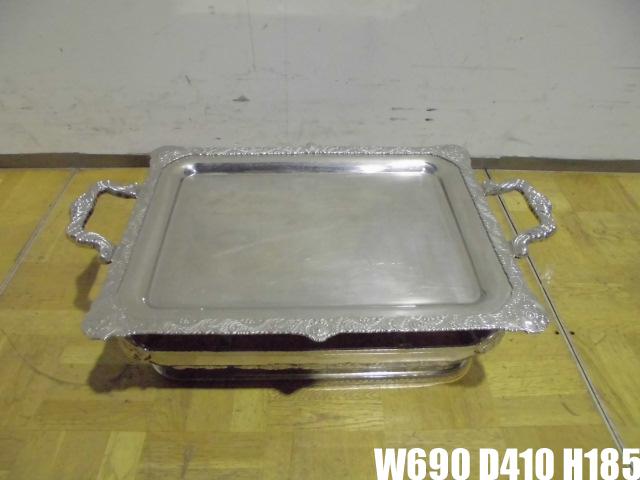 【中古】厨房 ステンレス 花柄 トレイ ビュッフェ オードブル バイキング 2台セット W690×D410×H185mm