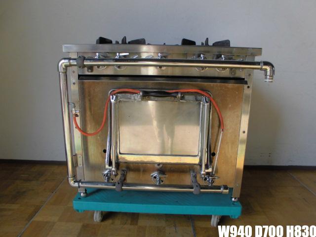 【中古】厨房 ASK 業務用 外管式ガスレンジ 3口ガスコンロ オーブン付き 都市ガス W900×D600×H800mm