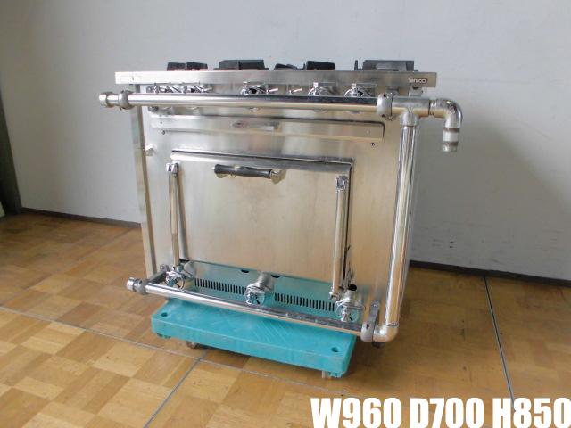 【中古】厨房 タニコー 業務用 外管式ガスレンジ S-TGR-90 3口ガスコンロ オーブン付き 都市ガス W960×D700×H850mm