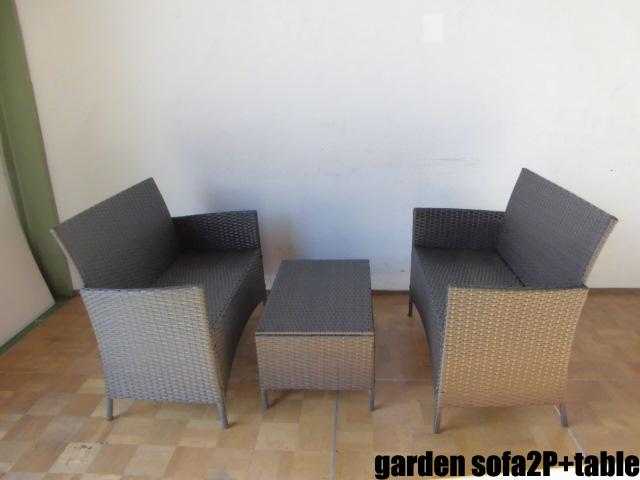 【中古】厨房 ガーデンソファ2P テーブル1P セット 籐 ラタン カフェ 屋外 店舗 飲食店