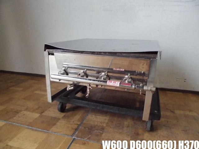 【中古】厨房 業務用 卓上 グリドル 鉄板焼き台 バーナー4本 都市ガス 焼きそば お好み焼き 屋台 祭り 蓋付き W600×D600(660)×H370mm