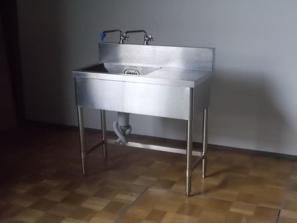 【中古】厨房 業務用 1槽シンク 流し台 作業台 水栓金具×2点付 W900×D450×H800(BG950)mm 排水ホース付