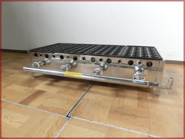【中古】厨房 たこ焼き器 4丁 4連 鉄板 4枚 都市ガス W785 4×7穴