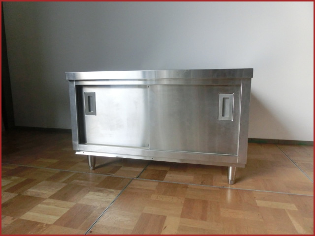 【中古】厨房 業務用 引出付 食器庫 調理台 変形 W900×D830×H570mm