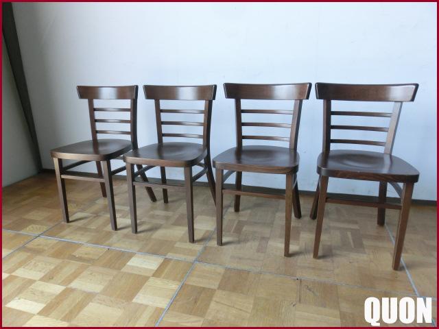 【中古】QUON クオン 木製チェア 店舗用椅子 4脚セット W440 D440 SH440 B