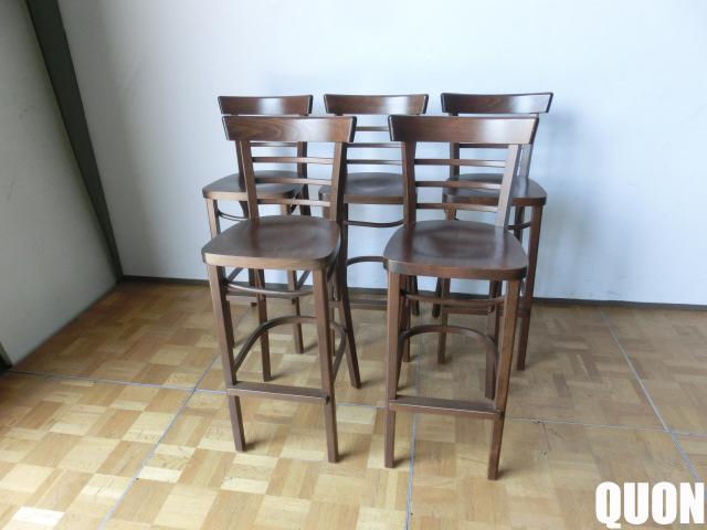 【中古】厨房 QUON クオン パロススタンド 木製 カウンター椅子 5脚セット SH775