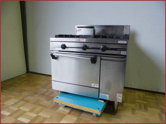 【中古】厨房 タニコー 3口 ガスレンジ オーブン付 都市ガス 2012年製 TSGR-0921A W900×D750×H860(BG1060)mm