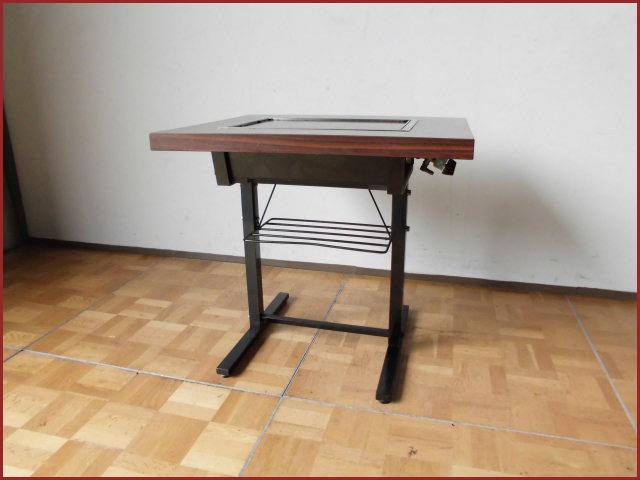 【中古】厨房 鉄板テーブル LPガス 圧電式 W750×D620×H700mm B プロパン お好み焼 焼そば 鉄板焼
