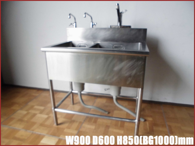 【中古】厨房 業務用2槽シンク 流し台W900×D600×H850(BG1000)mm調整脚+35mm 排水ホース