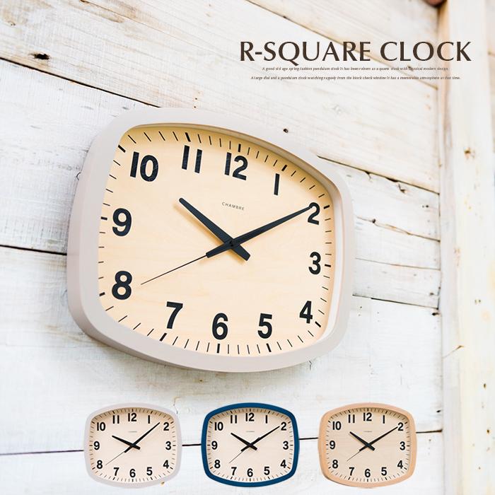 掛け時計 CHAMBRE R-SQUARE CLOCK CH-028 アール-スクエアクロック ウォールクロック 英国 ブリティッシュ シャンブル 壁掛け時計 インテリア 北欧 デザイン 時計 インターゼロ INTERZERO 壁掛け時計 木製 おしゃれ お祝い ギフト プレゼント