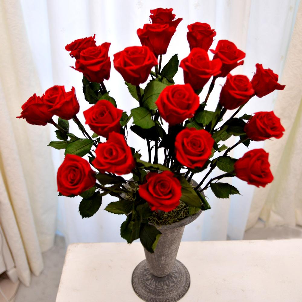 プリザーブドフラワー 赤バラ 20本の花束 成人式 花器付き【誕生日】【還暦】【プロポーズ】アレンジ 花 花束 ブーケ フラワー【あす楽】【即日出荷】【秋ギフト】【ハロウィン】