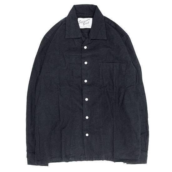定番 SPINNER BAIT スピナーベイト|昭和シャツ ヘリンボーン起毛 (ブラック)(長袖シャツ オープンカラーシャツ), 北海道産食材のユウテック c80c2936