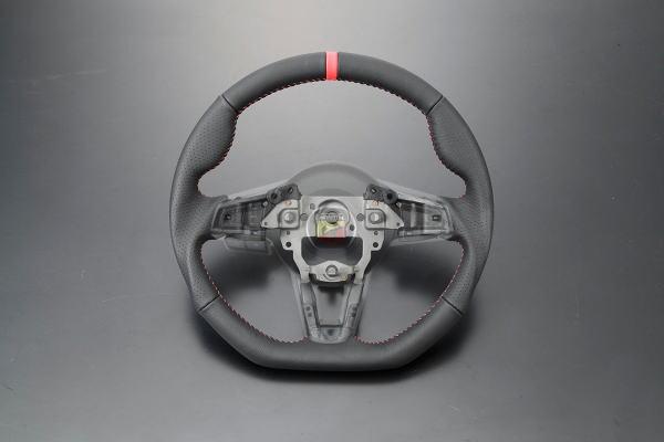 「オールレザー×レッドステッチ」FIAT(フィアット)NF2EK アバルト124スパイダー ガングリップステアリングホイール //カスタム/ドレスアップ/ステアリングハンドル/赤ステッチ